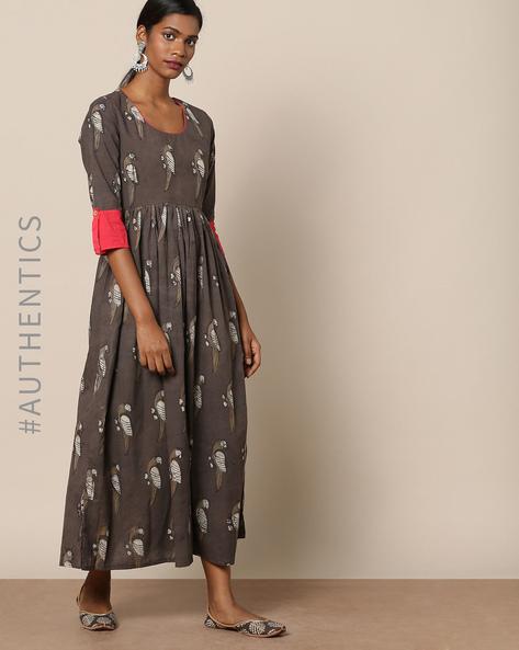 Kashish Dabu Hand-Block Print Cotton Mull Dress By Indie Picks ( Grey )