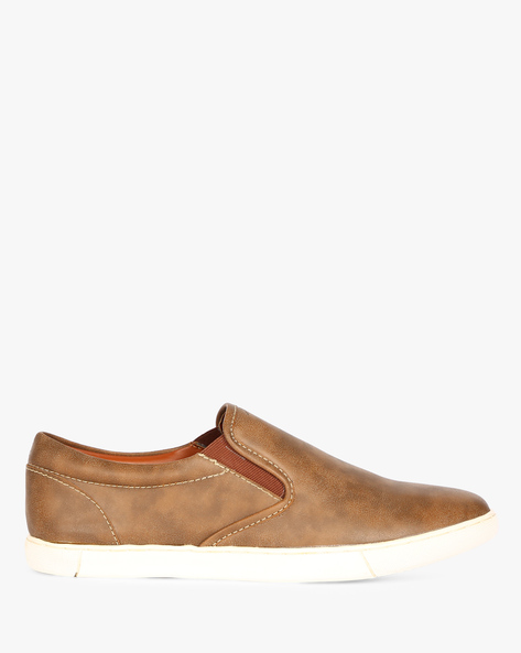 Textured Slip-On Sneakers By ESCARO ( Brown )