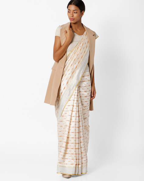 Art Silk Saree With Zari Border By Amori ( Beige )