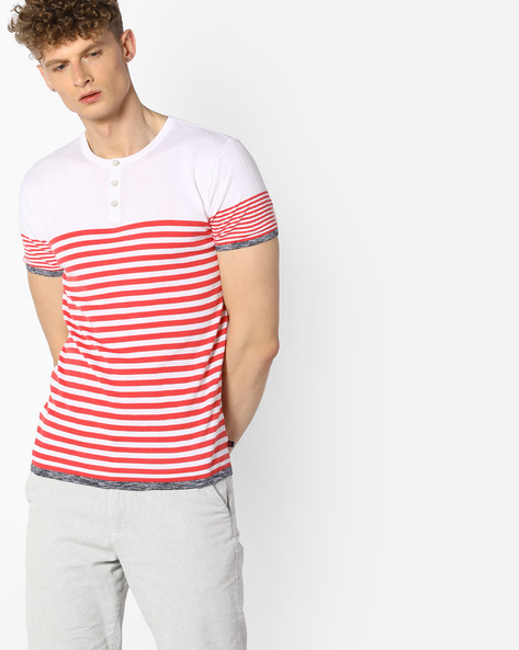 Henley T-shirt With Grindle Stripes By UNITED COLORS OF BENETTON ( Assorted )