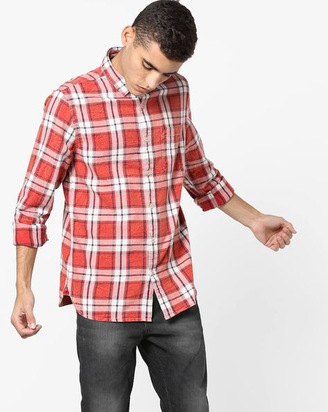 Checked Slim Shirt With Patch Pocket By Jack & Jones ( Red )