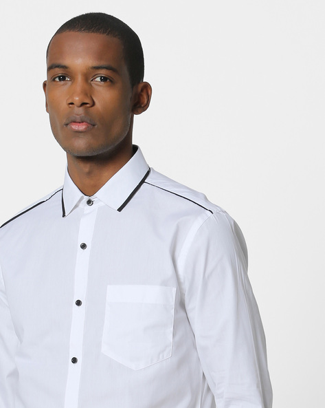 Classic Shirt With Contrast Trim By Black Coffee ( White )