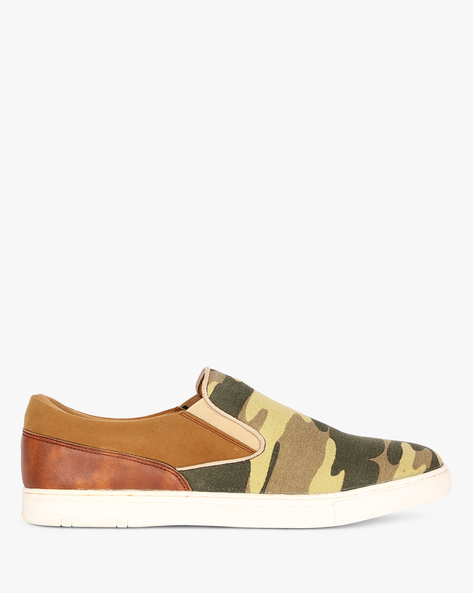 Panelled Camouflage Print Canvas Loafers By ESCARO ( Green )