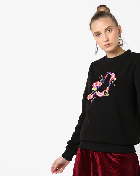 Crew-Neck Sweatshirt With Embroidery By Femella ( Black )