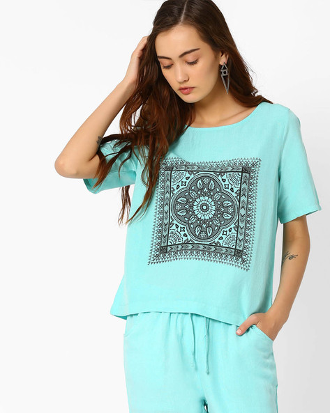 Printed Boxy Top By AJIO ( Aqua )
