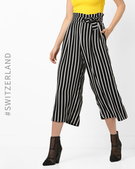 Striped Culottes With Waist Tie-Up By TALLY WEiJL ( Black )