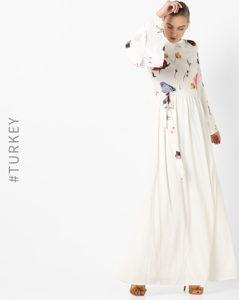 Floral Print Maxi Dress With Ruffled Sleeves By TRENDYOL ( White )