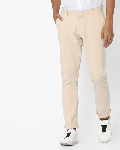 Mid-Rise Cotton Chinos By British Club ( Offwhite )