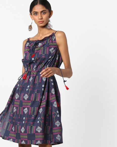 Printed Strappy Dress With Tie-Ups By AJIO ( Navy )