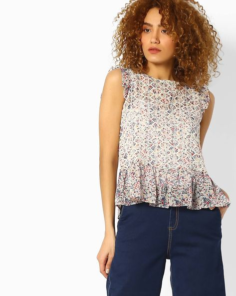 Printed Top With Ruffles By Ginger By Lifestyle ( Offwhite )