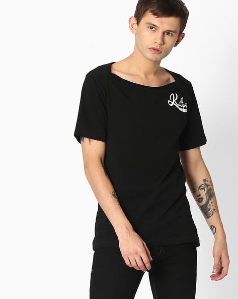 Slim Fit T-shirt With Boat Neckline By KULTPRIT ( Black )