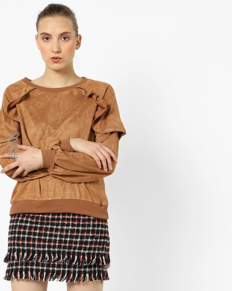 Ruffle Overlay Sweat Top By OEUVRE ( Brown )
