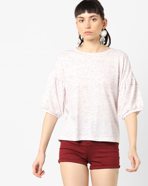 Speckled Top With Drop Shoulders By AJIO ( Crimson )