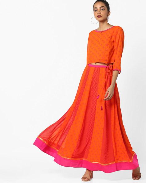 Printed Top And Skirt Set By AJIO ( Orange )