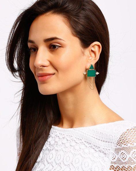 Gold-Plated Drop-Earrings By Ssoul ( Darkgreen ) - 460008513001