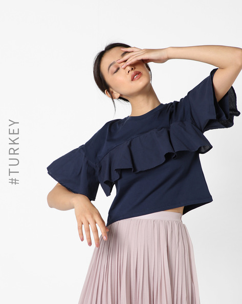 Short Top With Flared Sleeves By TIFFANY & TOMATO ( Navyblue )