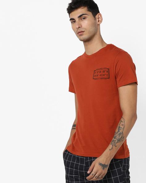 Crew-Neck T-shirt With Typographic Print By AJIO ( Rust )