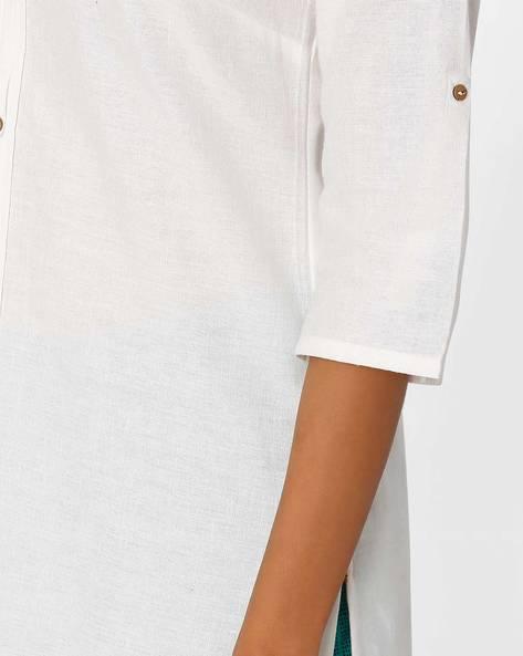 Straight Kurta With Button Placket By AURELIA ( White )