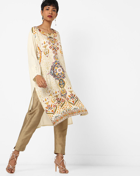 Printed Straight Kurta With Drop-Shoulder Sleeves By Melange By Lifestyle ( Offwhite )