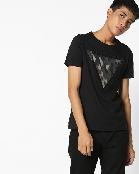Crew-Neck T-shirt With Camouflaged Patch By AJIO ( Black )