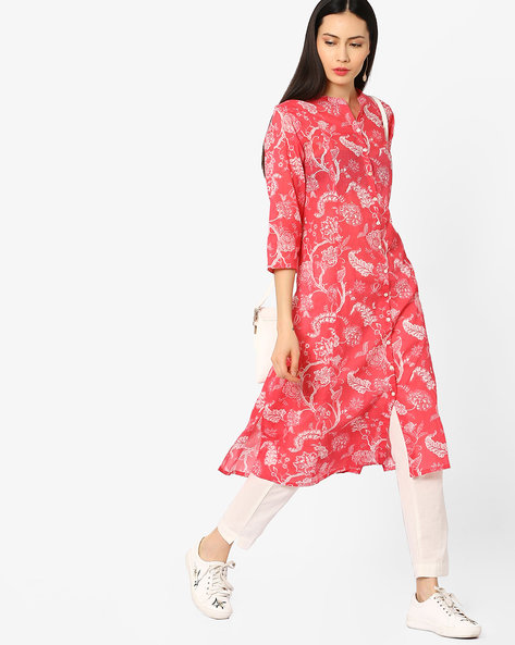 Printed Straight Kurta With Button Placket By Melange By Lifestyle ( Offwhite )