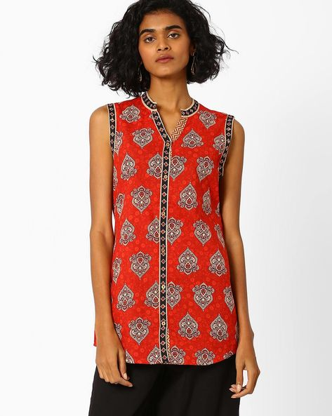 Bagh Print Cotton Top By SIYAHI ( Red )