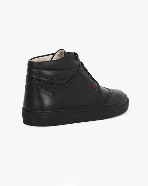 Faux-Leather High-Top Sneakers By TURN ( Black )
