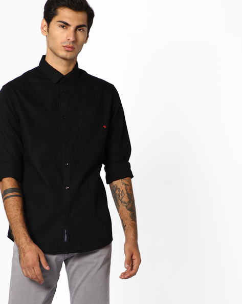 Slim Fit Shirt With Patch Pocket By The Indian Garage Co ( Black )