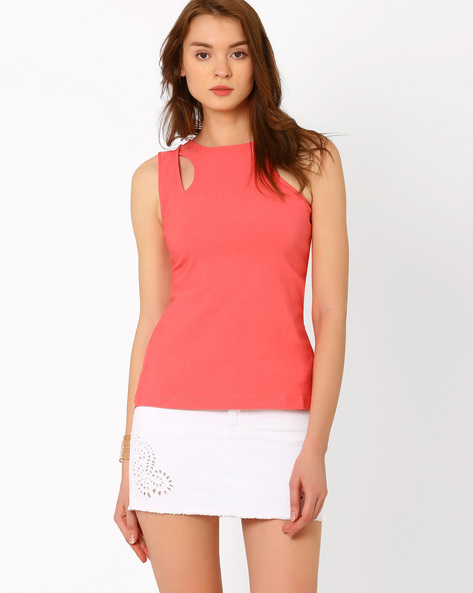 Sleeveless Top With Cut-Out By RIDRESS ( Coral )