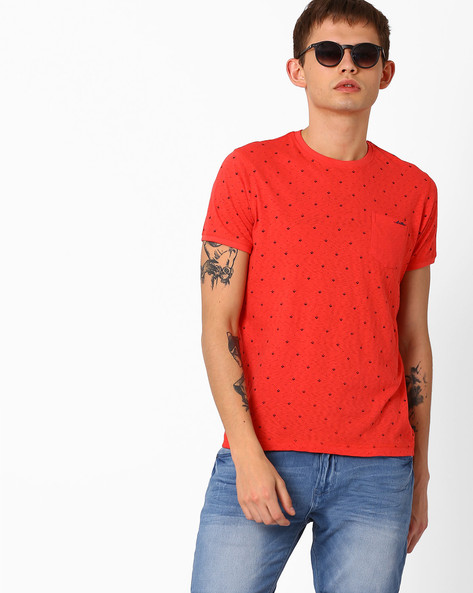 Micro Print T-shirt With Patch Pocket By Killer ( Coral )
