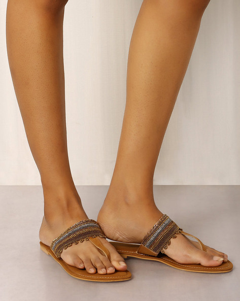 Beaded T-strap Chappals By Indie Picks ( Brown )