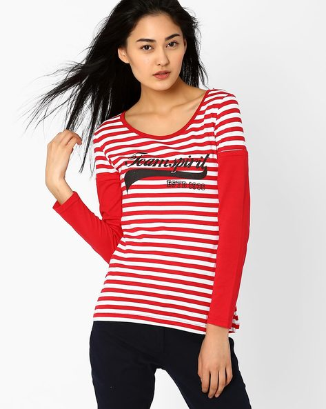Striped T-shirt With Doctor Sleeves By TEAM SPIRIT ( Red )