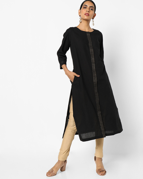 Straight Kurta With Pockets By Project Eve IW Casual ( Black )
