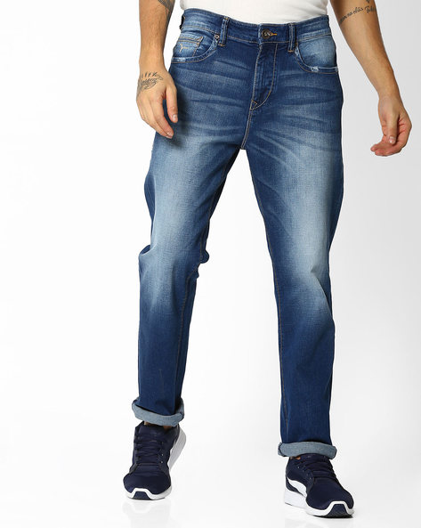 Washed Mid-Rise Slim Fit Django Jeans By FLYING MACHINE ( Blue )