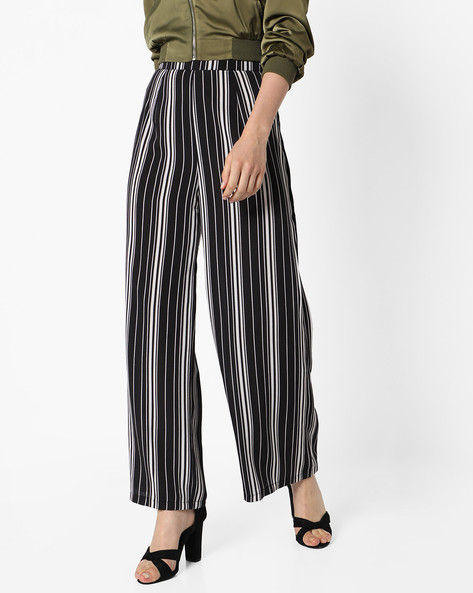 Striped Palazzo Pants By INFLUENCE ( Blackwhite )