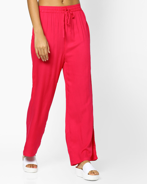 Mid-Rise Pants With Drawstring Waist By Indian Ink ( Fuschia )