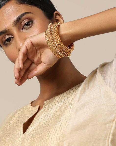 Filigree Pearl-Studded Bangle Kada By Rubans ( Gold )