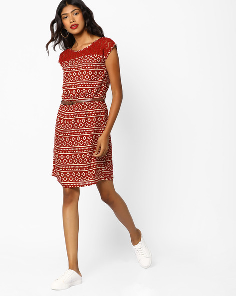 Printed Sheath Dress With Lace Yoke By BOSSINI ( Rust )