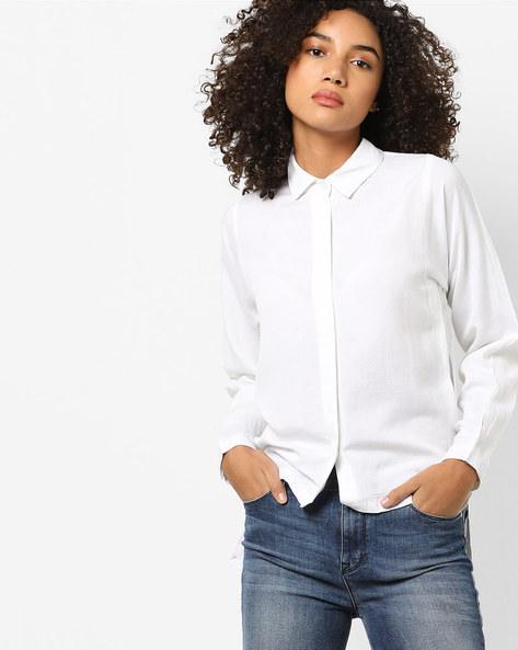 High-Low Shirt With Spread Collar By FIG ( White )