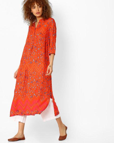 Printed A-Line Kurta By Global Desi ( Orange )