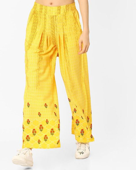 Printed Palazzos With Pleats By AURELIA ( Yellow )