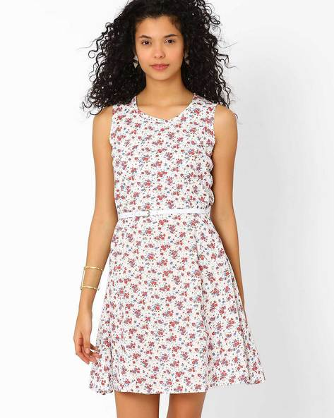 Floral Print Fit & Flare Dress By Style Quotient By Noi ( Multi )