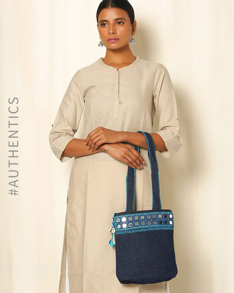 Lambani Embroidered Cotton Handbag By Indie Picks ( Blue )