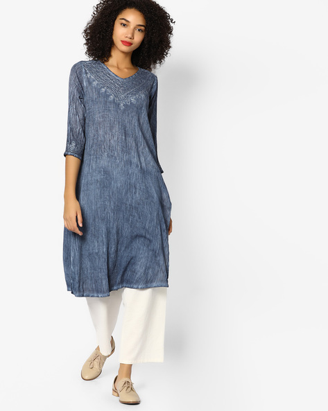 Straight Kurta With Embroidered Yoke By Melange By Lifestyle ( Pink )