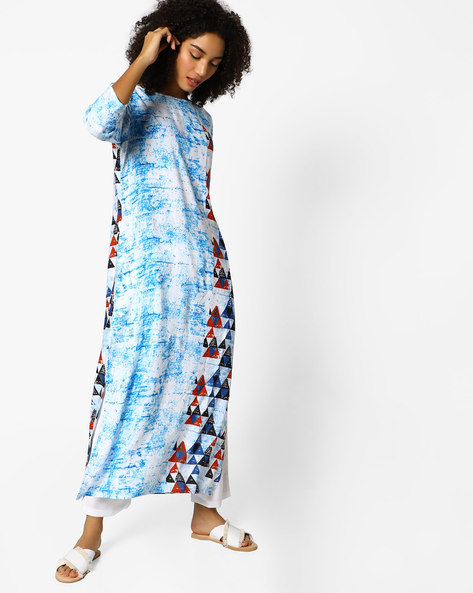 Straight Tunic With Geometric Print Panels By Project Eve IW Fusion ( Turq )