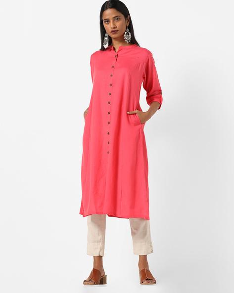 Straight Kurta With Mandarin Collar By Shree ( Pink )