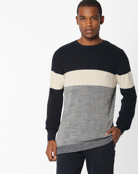 Striped Crew-Neck Pullover By Celio ( Navyblue )
