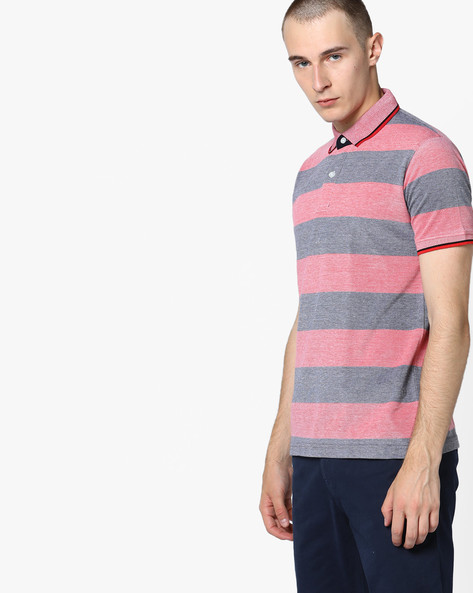 Polo T-shirt With Stripe-Tipped Hems By Fort Collins ( Black )