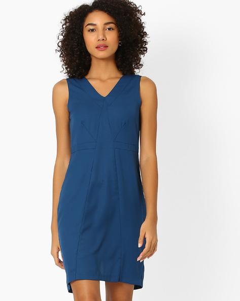Panelled Sheath Dress By AJIO ( Grey )