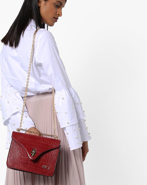 Textured Sling Bag By E2O ( Red )